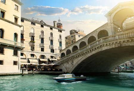 rialto: Rialto bridge and ship in Venice, Italy