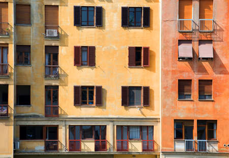 mediterranian houses: Old colored house in Florence at sunny day