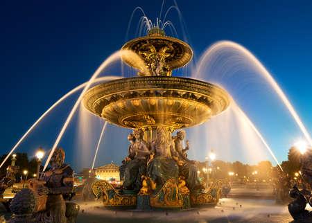 concorde: Fountain des Mers at the Place de la Concorde in Paris Stock Photo