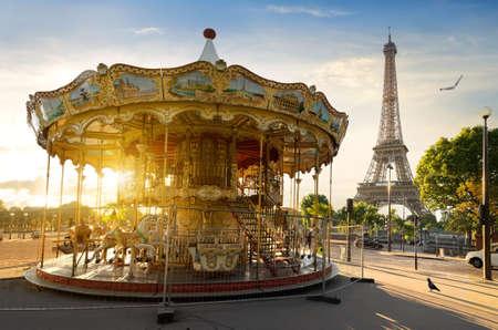 Carousel in park near the Eiffel tower in Paris