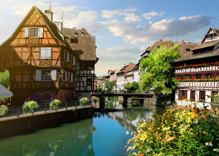 Picturesque district Petite France in Strasbourg, houses on river Stock Photo