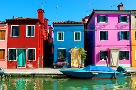 mediterranian houses: Colored houses in venetian city Burano, Italy