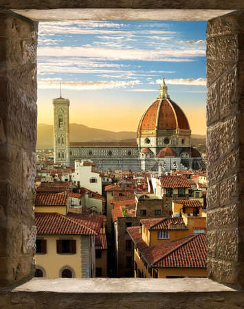 cattedrale: View on Cattedrale di Santa Maria del Fiore in Florence from ancient window, Italy