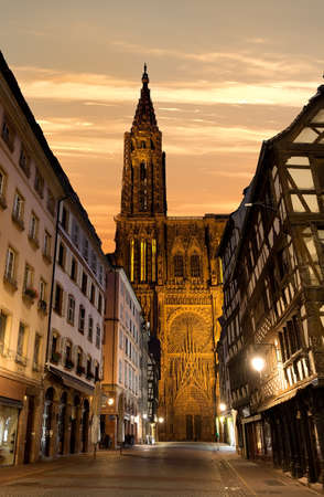 Notre Dame de Strasbourg and beautiful sunrise, France Stock Photo