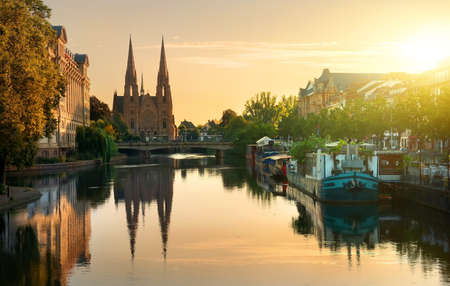 Reformed Church of St. Paul in Strasbourg at sunrise, France 스톡 콘텐츠