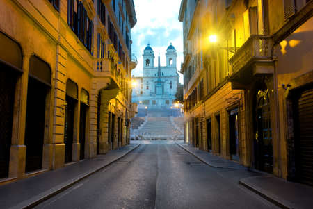 Famous Spanish Stairs and roman street in the morning, Italy Stock Photo