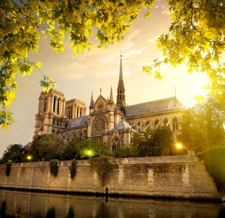 paris france: Notre Dame in Paris at sunset, France