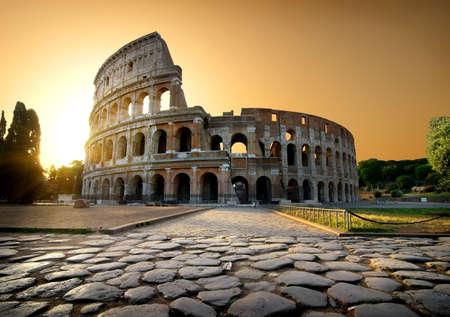 Colosseum and yellow sky Foto de archivo
