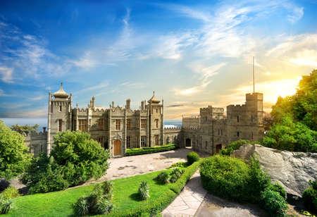 voroncov: Vorontsov Palace in the town of Alupka, Crimea, Ukraine.  Stock Photo