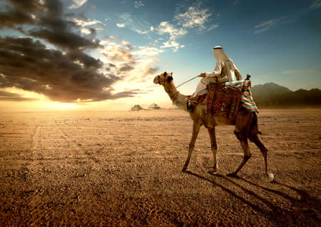 Bedouin at sunset Stock Photo
