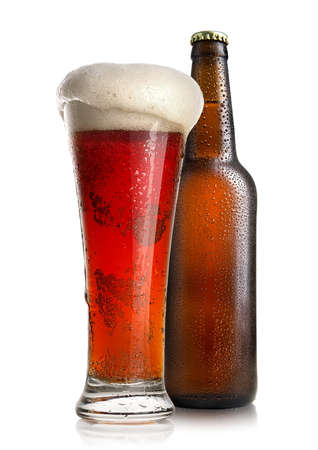 Red beer and bottle Stock Photo