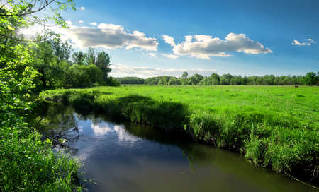 River and field Stock Photo