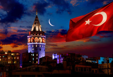 Flag and Galata Tower Stock fotó