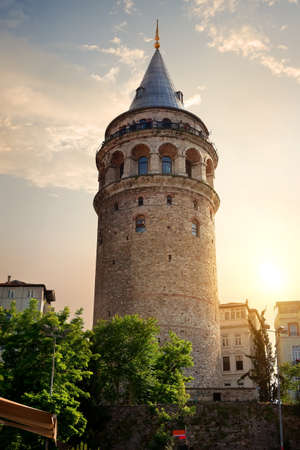 Galata Tower at sunset Stock Photo