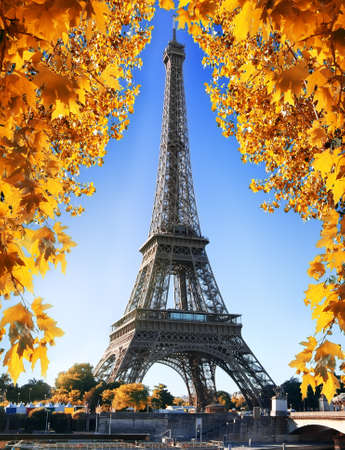 Eiffel Tower and nature in autumn Stock Photo - 84467929
