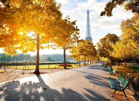 가을의 파리에서 맑은 아침 스톡 콘텐츠
