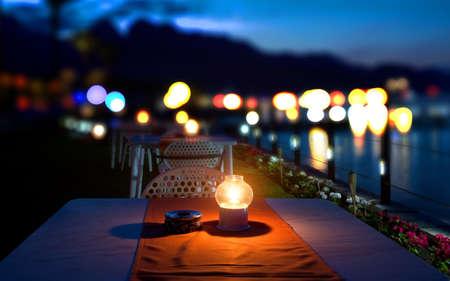 지중해에서의 저녁 식사 스톡 콘텐츠