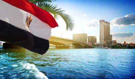 Flag and Cairo bridge Stock Photo
