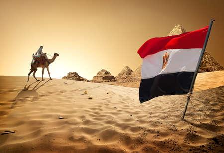 Flag pyramids in desert