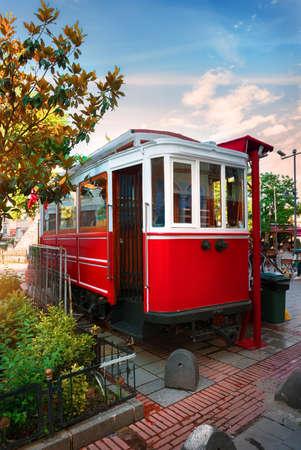 Red old tram Stok Fotoğraf