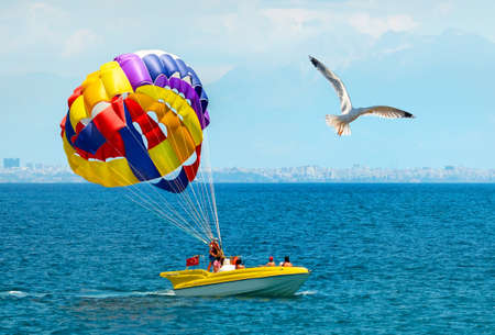 Parachute on sea Stock Photo