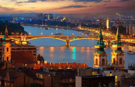 Illuminated Margaret bridge in Budapest