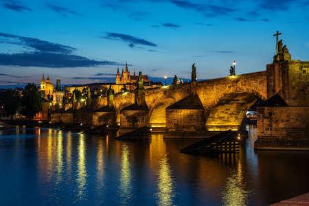 Illuminated Charles Bridge, Prague, Czech Republic