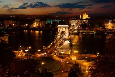 Szechenyi bridge at night