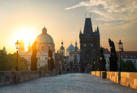 Charles Bridge in Prague at dawn. Czech Republic 版權商用圖片