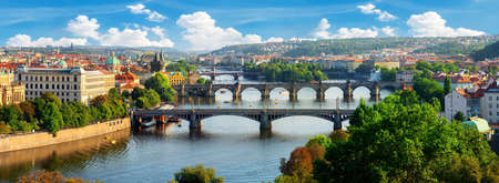 Row of bridges in Prague at summer day Stock Photo