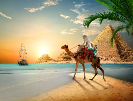 Sea and Pyramids Stock Photo
