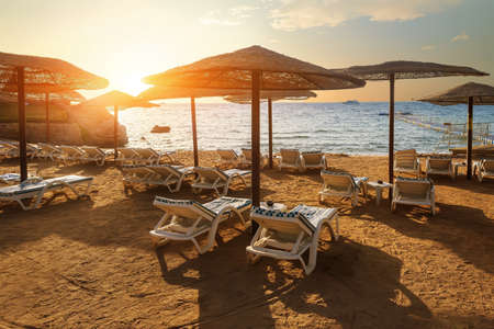 Chaise longues on a beach of the Red sea