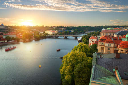 Prague and River Vltava 스톡 콘텐츠