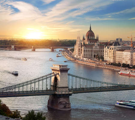 Bright sunset in Budapest Stock Photo