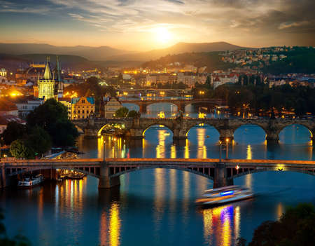 Bridges of Prague in evening