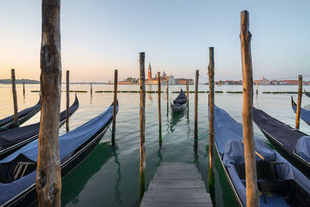Moored gondolas in the morning Stock Photo