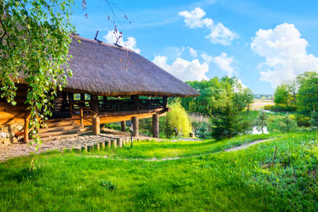 Wooden house in summer