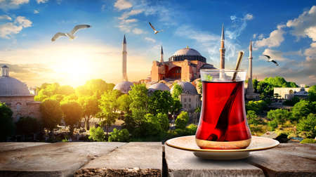 Tea and Hagia Sophia Stock Photo