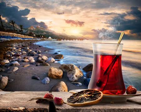 Turkish tea and sea Stock Photo
