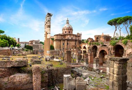 Ruins of Roman Forum Stock Photo