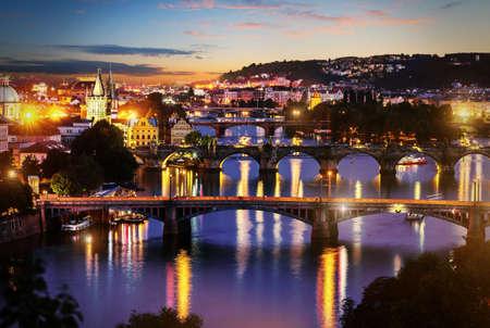 View of illuminated bridges Stock Photo