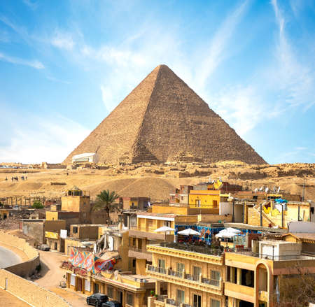 Giza Town In Front Of The Pyramid Of Cheops, Egypt Stock fotó