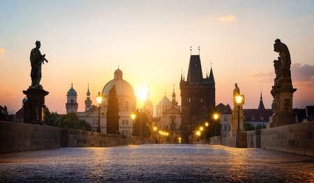 Charles Bridge in Prague at dawn. Czech Republic Stock fotó