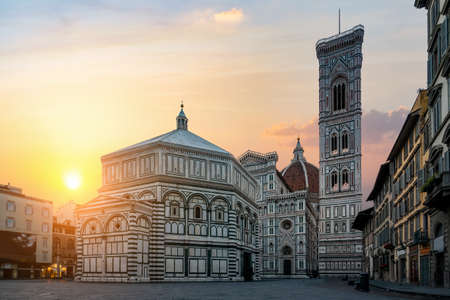 Dawn over Basilica Santa Maria del Fiore in Florence Stock Photo