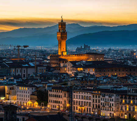 View of Florence cityscape and mountains in early morning
