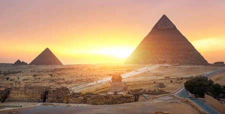 Sphinx in desert of Cairo Stock Photo