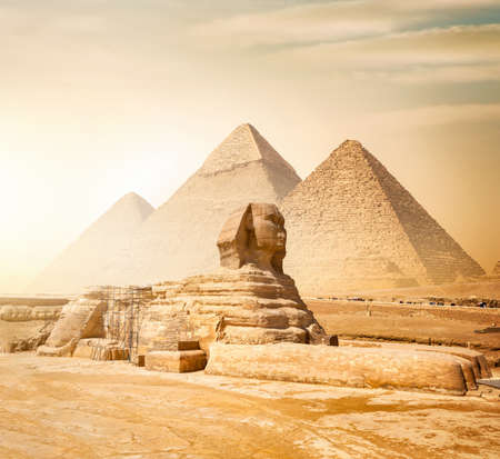 Sphinx and pyramids Stockfoto