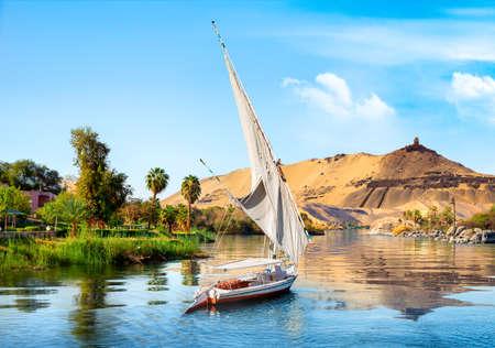Barche a vela sul Nilo Archivio Fotografico