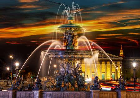 Fountain des Mers at the Place de la Concorde in Paris Banco de Imagens