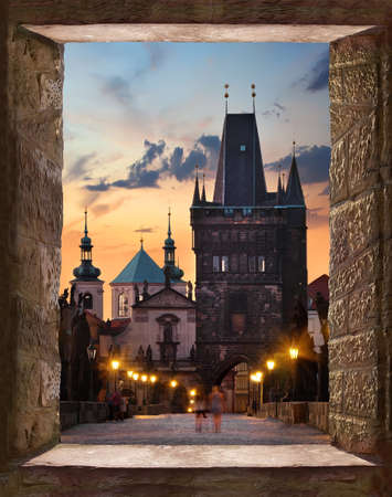 View from the ancient window to the Charles Bridge